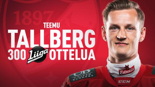 Teemu Tallbergille 300 liigapeliä täyteen – tässä IFK:n kokoonpano Poriin