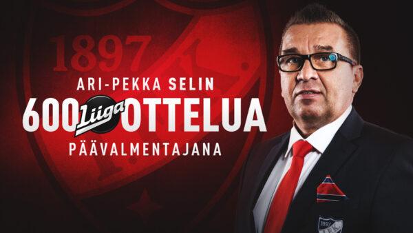 600 liigaottelua päävalmentajana – Ari-Pekka Selinille komea merkkipaalu