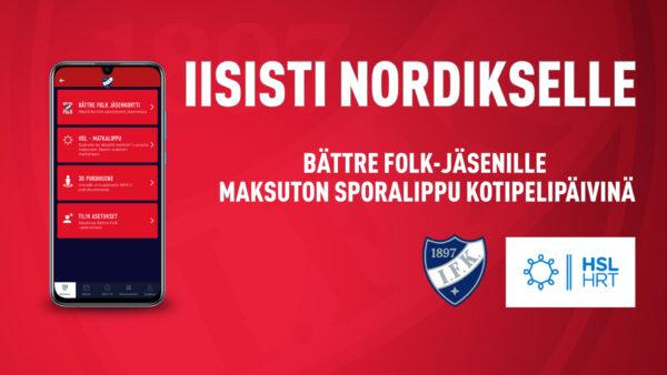 TIEDOTE: Bättre Folk -jäsenille kotipelipäivinä matkalippu Nordikselle